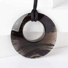 Кулон обсидиан прозрачный Армения (текстиль) 5 см