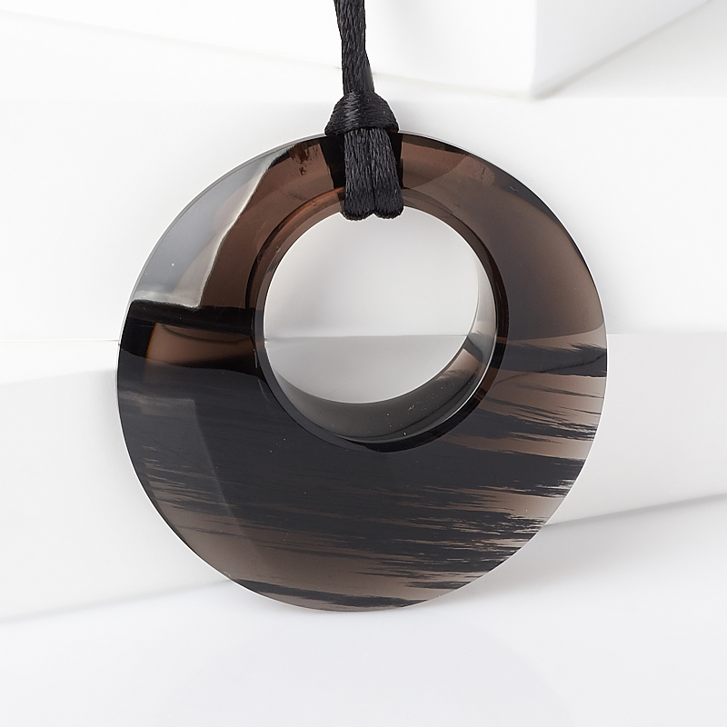 цена на Кулон обсидиан прозрачный (текстиль) 5 см