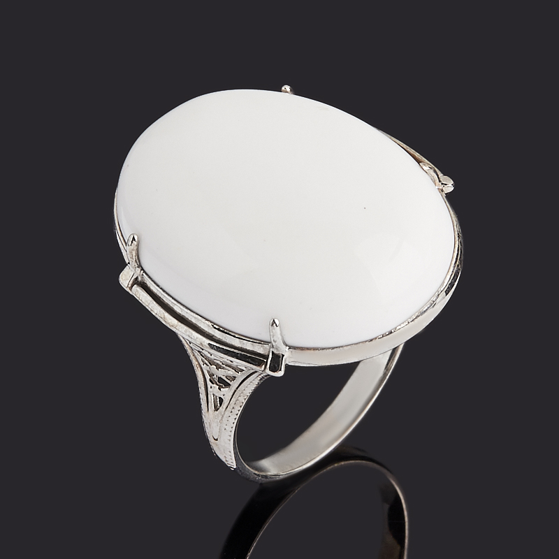 Кольцо кахолонг (серебро 925 пр. родир. бел.) размер 19