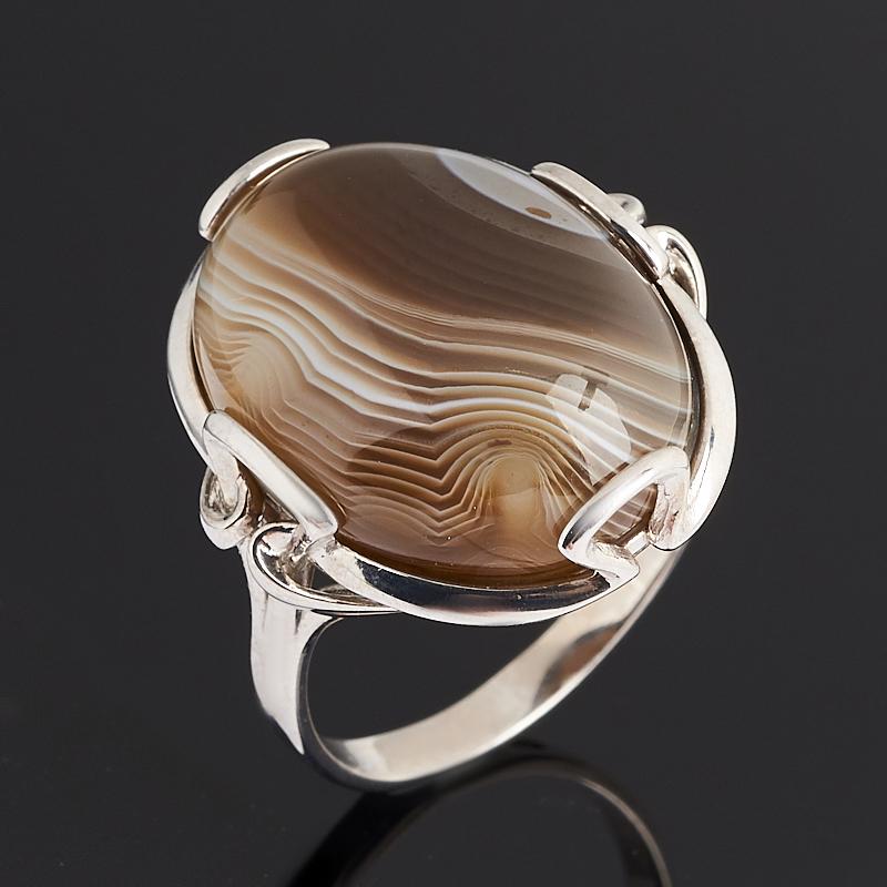 Кольцо агат серый (серебро 925 пр. родир. бел.) размер 18,5