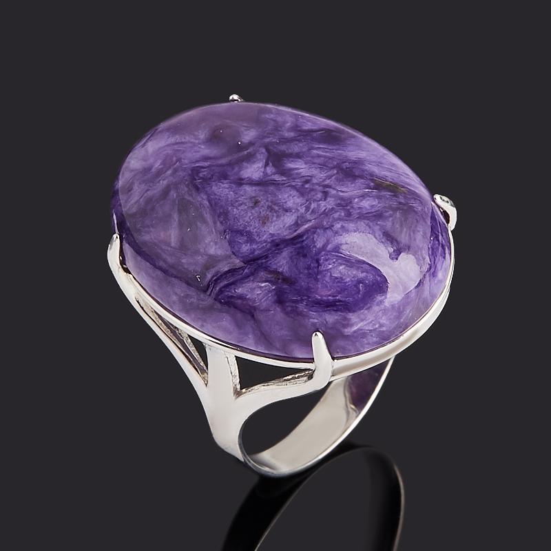 Кольцо чароит (серебро 925 пр. родир. бел.) размер 18,5 фото