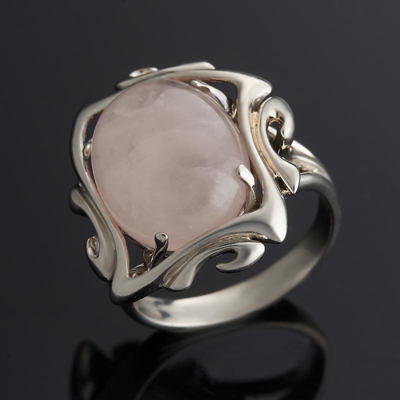 Кольцо розовый кварц (серебро 925 пр. родир. бел.) размер 17 кольцо содалит серебро 925 пр регулируемый размер 17 5