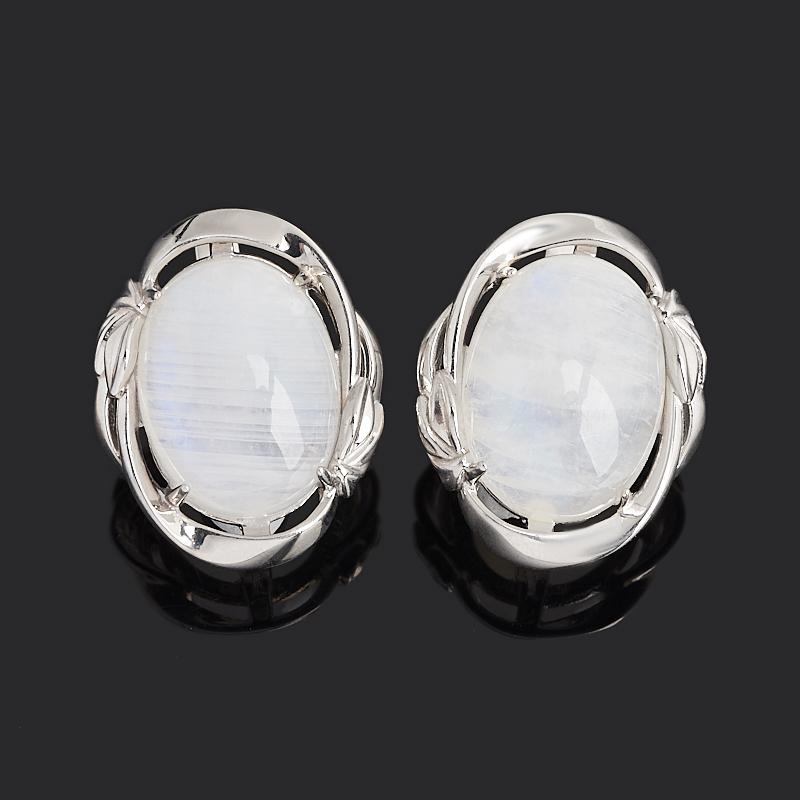 Серьги лунный камень (адуляр) (серебро 925 пр. родир. бел.)