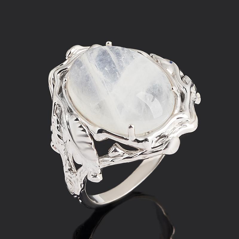 Кольцо лунный камень (адуляр) (серебро 925 пр. родир. бел.) размер 18,5