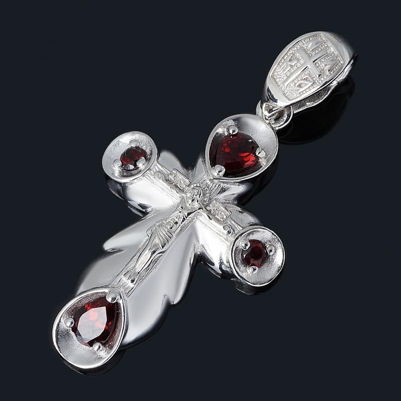 Кулон гранат альмандин Индия (серебро 925 пр. родир. бел.) крест огранка