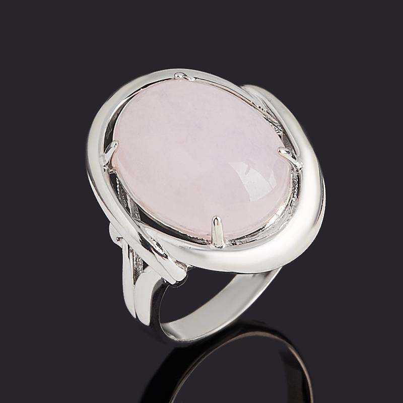 Кольцо розовый кварц (серебро 925 пр. родир. бел.) размер 17,5