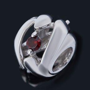 Шарм гранат альмандин Индия (серебро 925 пр. родир. бел.) большой огранка