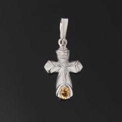 Кулон цитрин Бразилия (серебро 925 пр. родир. бел.) крест огранка