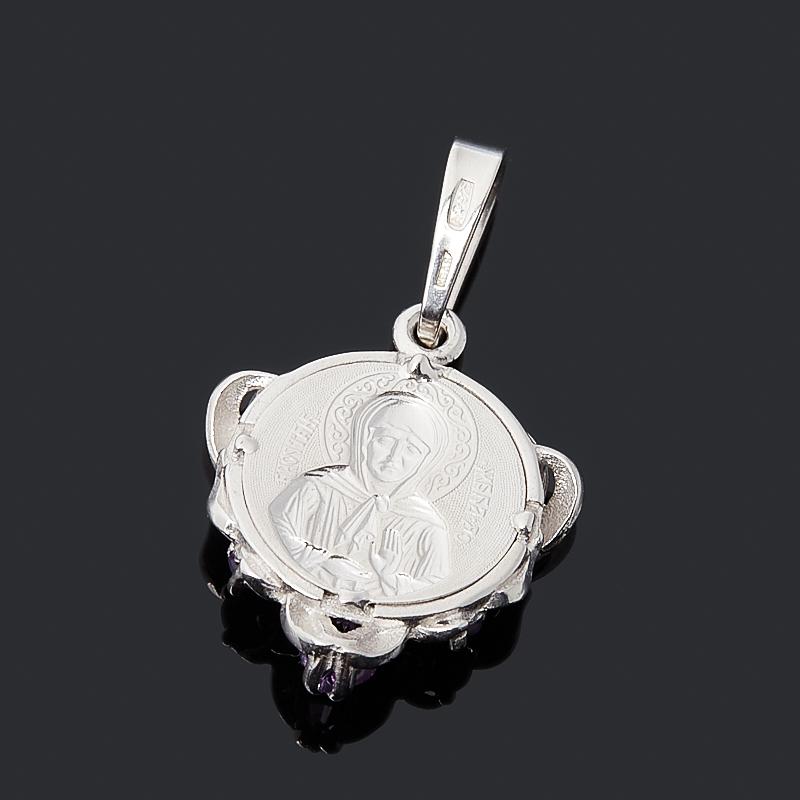 Кулон аметист Бразилия Святая Матрона огранка (серебро 925 пр. родир. бел.)
