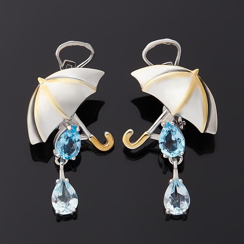 Серьги топаз swiss, голубой (серебро 925 пр. позолота, родир. бел.) огранка