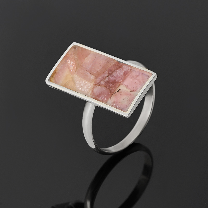 Кольцо турмалин розовый (рубеллит) (нейзильбер) размер 18,5