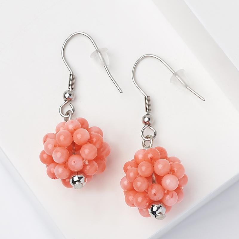 Серьги коралл розовый (сталь хир., биж. сплав)