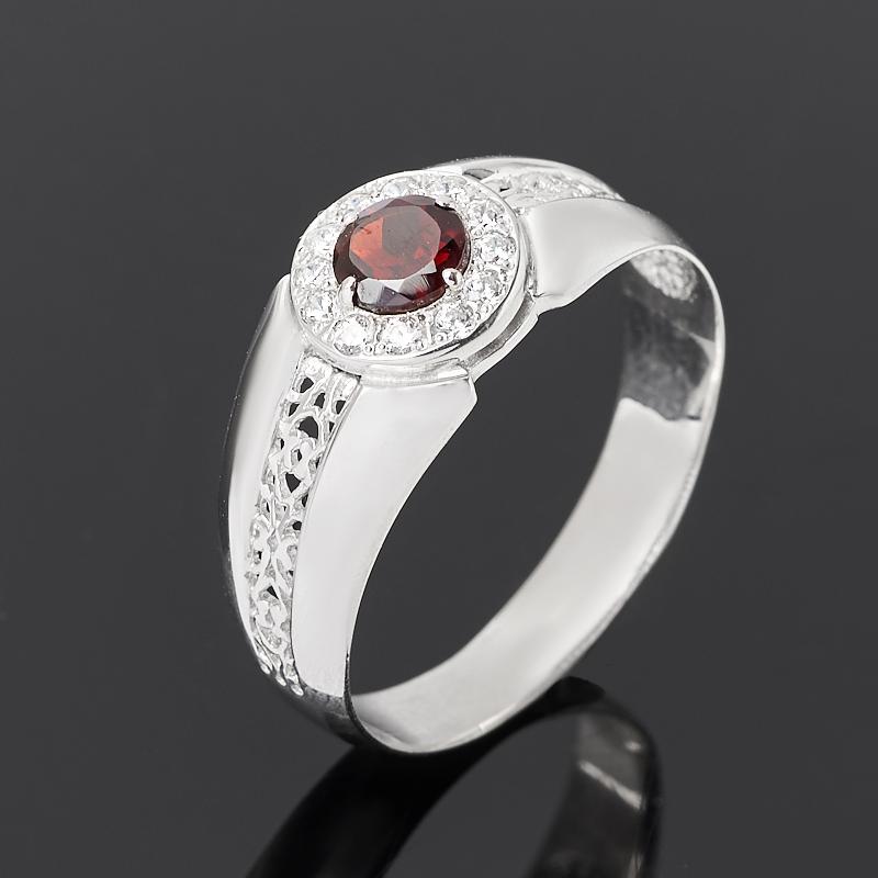 Кольцо гранат альмандин  (серебро 925 пр. родир. бел.) огранка размер 21