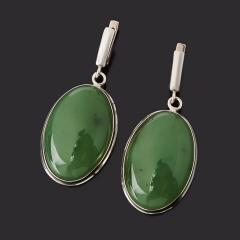 Серьги нефрит зеленый Россия (серебро 925 пр.)