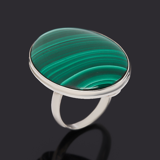 Кольцо малахит (серебро 925 пр.) размер 16,5