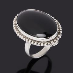 Кольцо агат черный Россия (серебро 925 пр.) размер 17