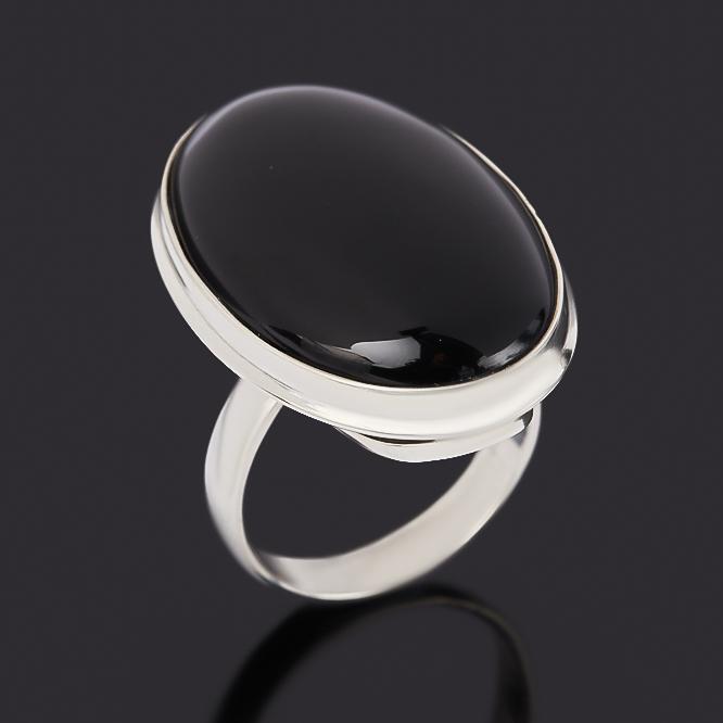 Кольцо агат черный (серебро 925 пр.) размер 18 фото