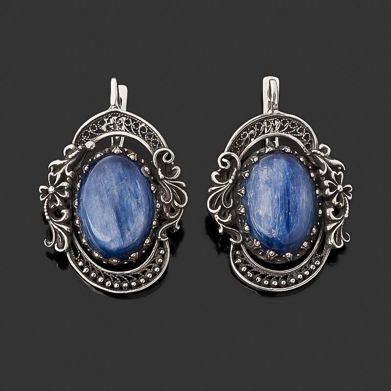 Серьги кианит синий (серебро 925 пр. оксидир.)