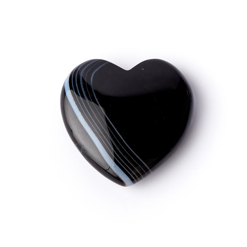 Сердечко агат черный 3 см