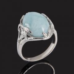 Кольцо аквамарин Бразилия (серебро 925 пр. родир. бел.) размер 18,5