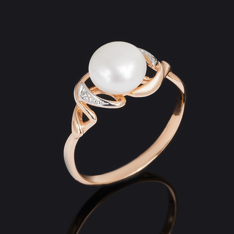 Кольцо жемчуг белый (серебро 925 пр. позолота, родир. бел.) размер 18