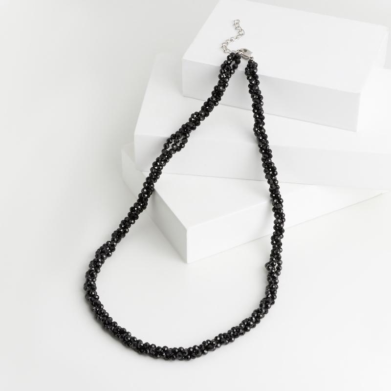 Бусы турмалин черный (шерл) (биж. сплав) огранка 3 мм 46 см (+5 см)