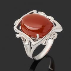 Кольцо сердолик Бразилия (серебро 925 пр. родир. бел.) размер 17,5
