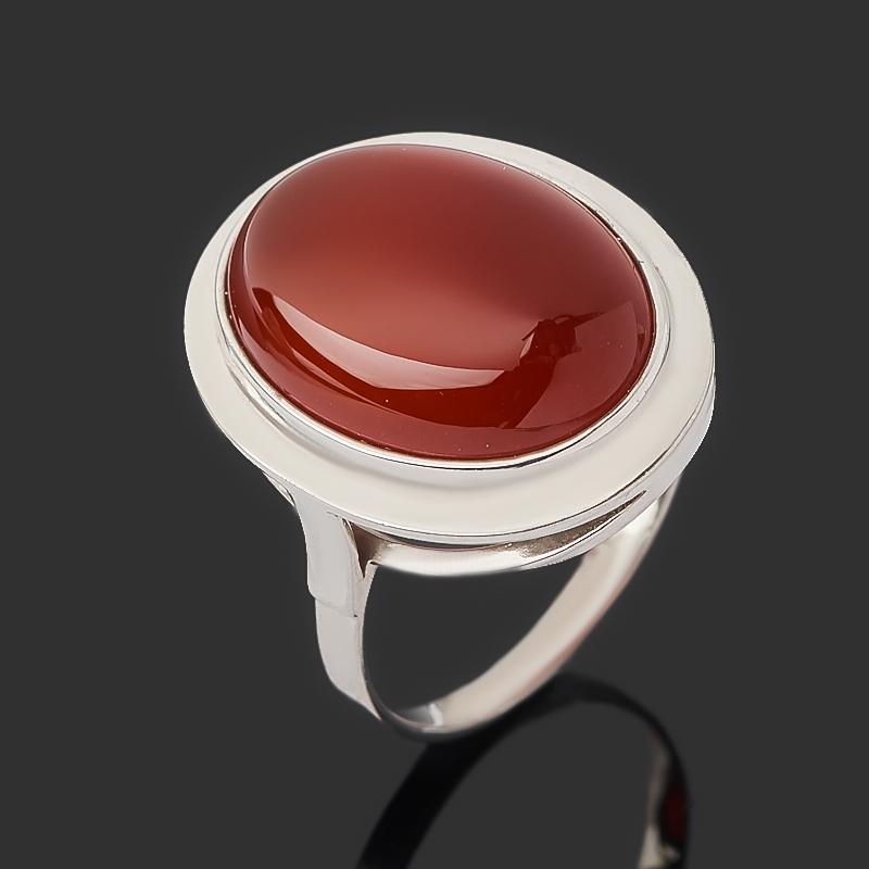 Кольцо сердолик (серебро 925 пр. родир. бел.) размер 18,5