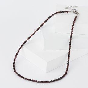 Бусы гранат альмандин Индия (сталь хир., биж. сплав) огранка 4 мм 48 см (+7 см)
