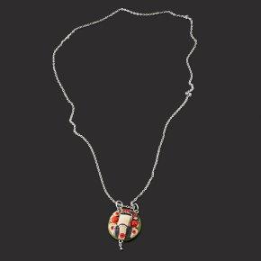 Кулон микс коралл, яшма (биж. сплав, сталь хир., глина полимерная) круг