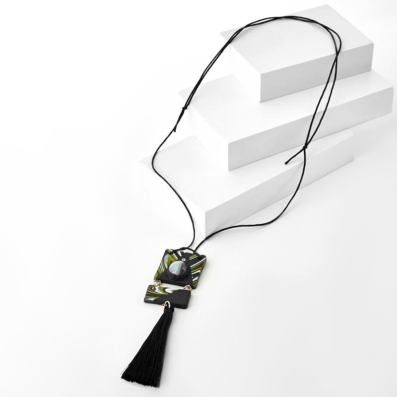 Кулон агат серый Ботсвана (сталь хир., глина полимерная, текстиль)