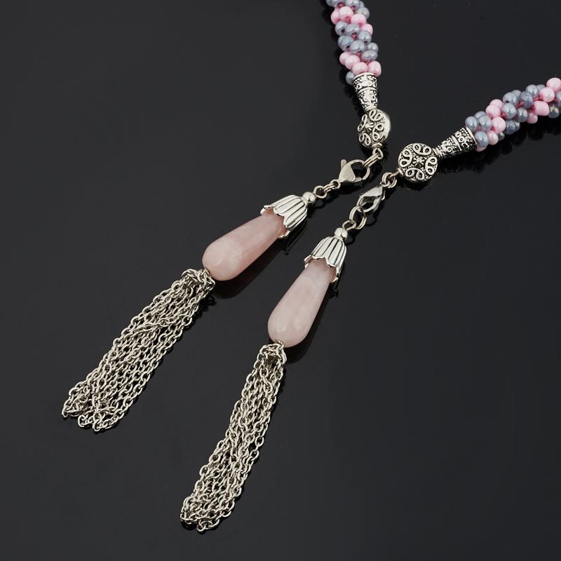 Бусы розовый кварц Бразилия (жгут) трансформер длинные 150 см (регулируемый) (текстиль, сталь хир., биж. сплав)