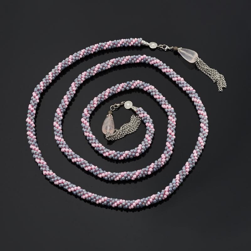 Бусы розовый кварц Бразилия (биж. сплав, сталь хир., текстиль) (жгут) трансформер длинные огранка 150 см (регулируемый)