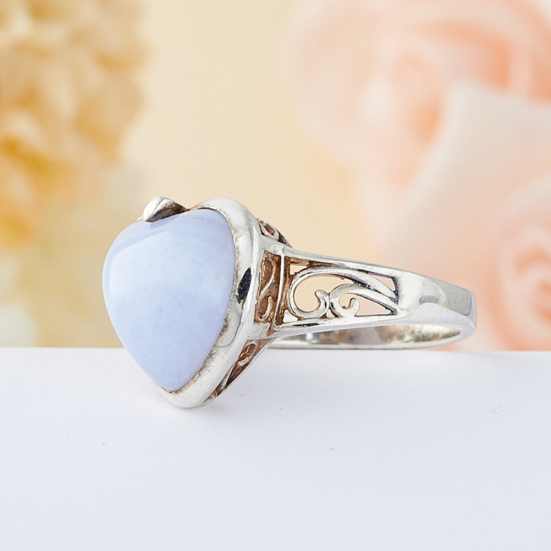 Кольцо голубой агат Намибия (серебро 925 пр.) размер 21,5