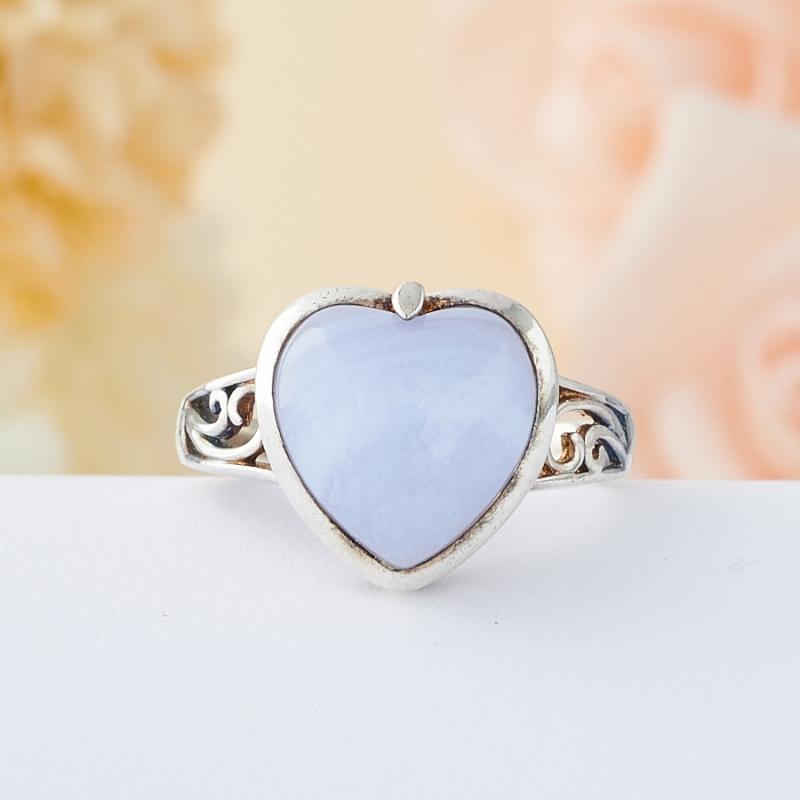 Кольцо голубой агат Намибия (серебро 925 пр.) размер 22