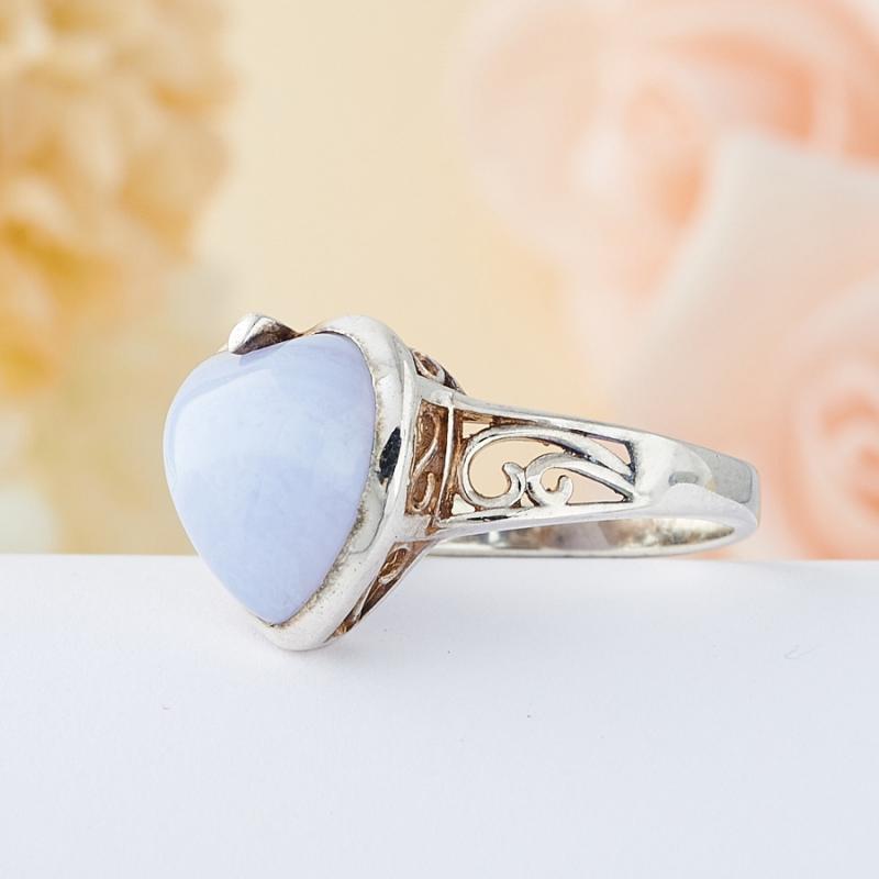 Кольцо голубой агат Намибия (серебро 925 пр.) размер 15,5