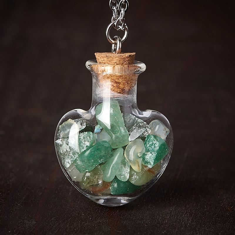 Фото - Кулон авантюрин зеленый (биж. сплав, стекло) бутылочка 3 см кулон дракон авантюрин зеленый 3 см