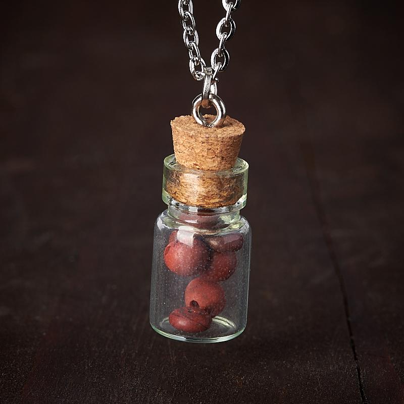 Кулон яшма красная (биж. сплав, стекло) бутылочка 2,5 см