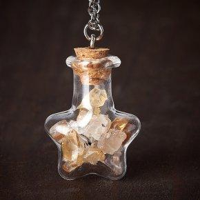 Кулон микс рутиловый кварц, цитрин (биж. сплав, стекло) бутылочка 3 см