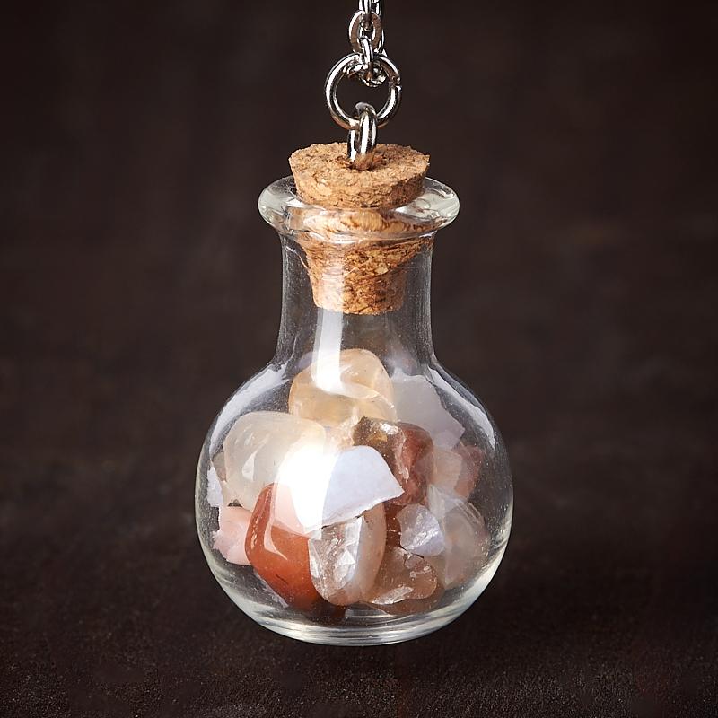 Фото - Кулон микс агат, опал, сердолик (биж. сплав, стекло) бутылочка 3 см кулон опал благородный белый биж сплав бутылочка огранка 3 см