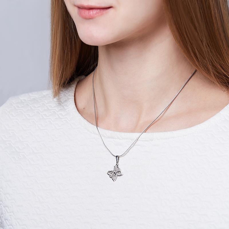 Кулон бриллиант Россия (серебро 925 пр. родир. бел.) бабочка огранка