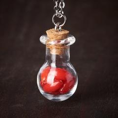 Кулон коралл красный Индонезия (биж. сплав, стекло) бутылочка 3 см
