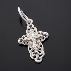 Кулон сапфир Индия (серебро 925 пр. родир. бел.) крест огранка