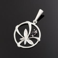 Кулон сапфир черный Индия (серебро 925 пр. родир. бел.) круг огранка