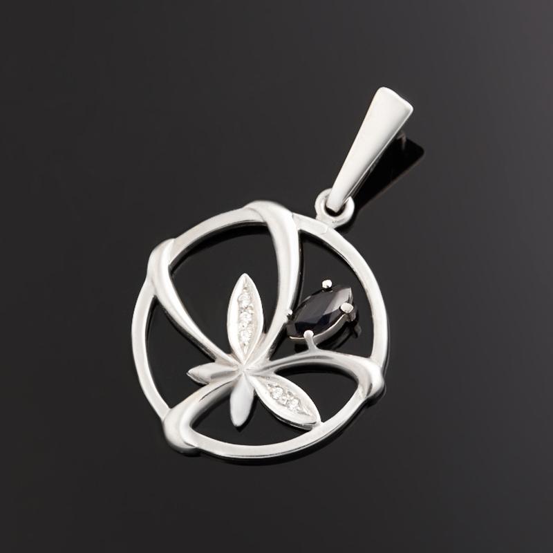 Кулон сапфир черный (серебро 925 пр. родир. бел.) круг огранка кулон малахит серебро 925 пр родир бел круг