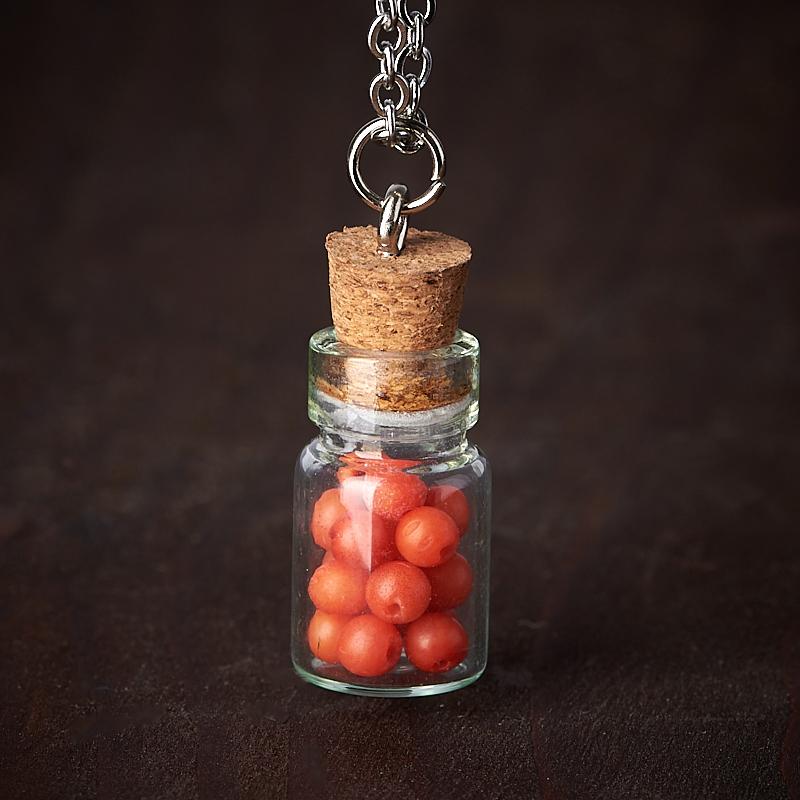 Кулон коралл красный (биж. сплав, стекло) бутылочка 2,5 см