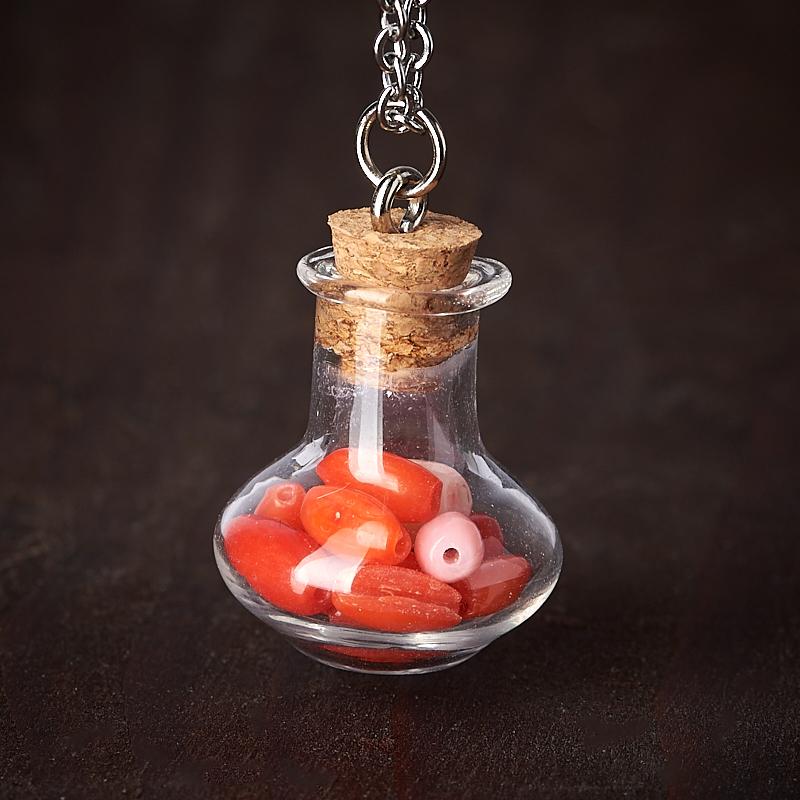 Кулон коралл красный, розовый (биж. сплав, стекло) бутылочка 2,5 см