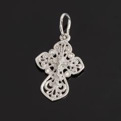 Кулон бриллиант Россия (серебро 925 пр. родир. бел.) крест огранка