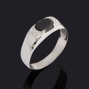 Кольцо сапфир чёрный Индия (серебро 925 пр. родир. бел.) огранка размер 19