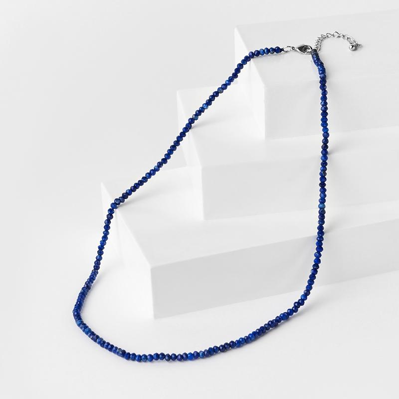 Бусы лазурит (биж. сплав) огранка 3 мм 42 см (+4 см)